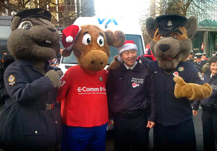 ALI with Vancouver Police Chief Jim Chu and mascots
