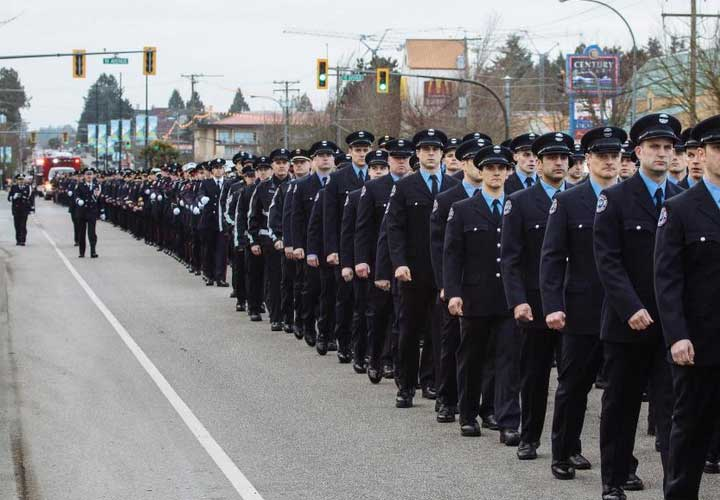 Courtesy of Delta Professional Firefighters Local 1763 taken during Captain Mark Janson's January 28 firefighter procession.