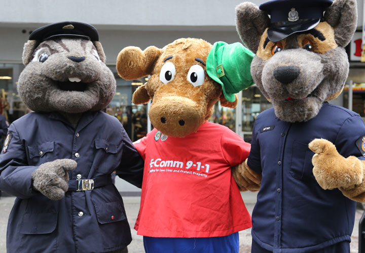 E-Comm's 9-1-1 ambassador, ALI, attended the St. Patrick's Day parade in downtown Vancouver on March 15.