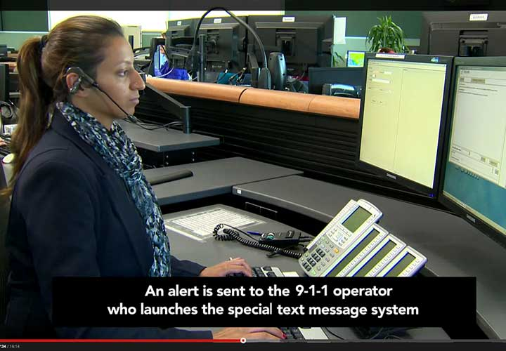 Photo of video showing users how to register and use T9-1-1 service.
