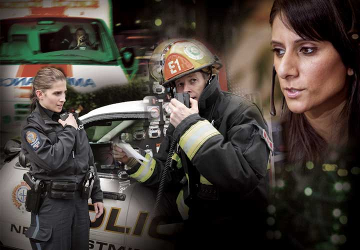 Photo collage of E-Comm calltaker and first responders