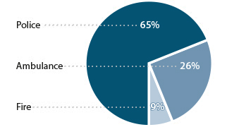 pie chart for 9-1-1 calls directed to police, fire and ambulance