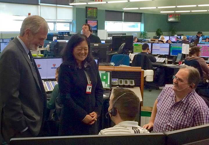 The Honourable Naomi Yamamoto, B.C. Minister of State for Emergency Preparedness, toured E-Comm's communications centre in November.