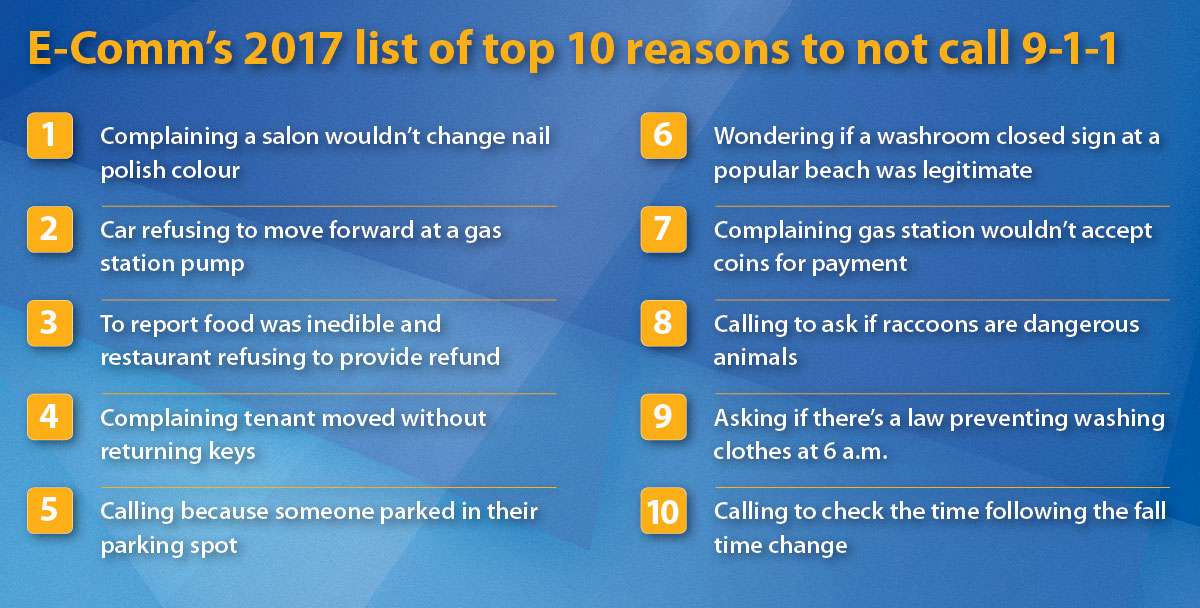 E-Comm's 2017 list of top 10 reasons to not call 9-1-1