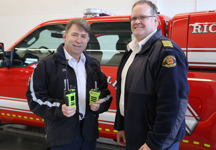 Richmond Fire-Rescue Chief Tim Wilkinson and Deputy Chief Kevin Gray received new radios earlier this year.