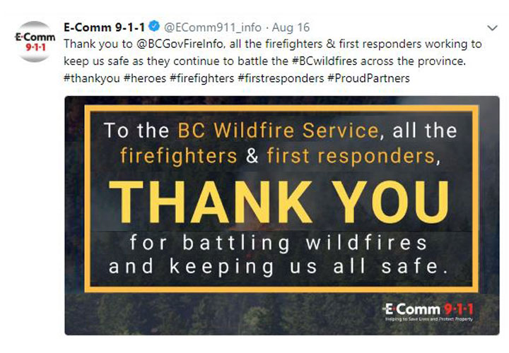 Tweet image: E-Comm thanking first responders this summer for their efforts in battling wildfires across the province.