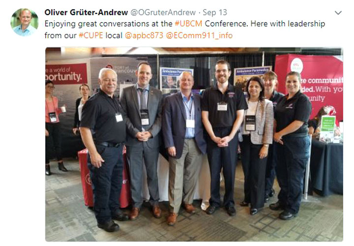 E-Comm President and CEO Oliver Grüter-Andrew at the Union of British Columbia Municipalities conference on September 13, 2018.
