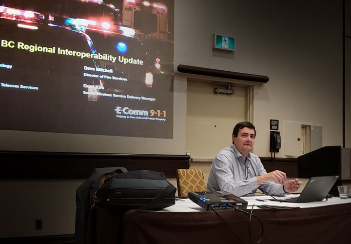 E-Comm's Vice-President of Technology Services Mike Webb presenting at CITIG in December.