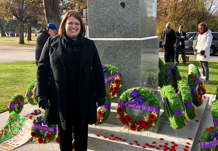 E-Comm's Executive Director of Human Resources, Kate Dickerson, attended the Victory Square Remembrance Day Ceremony in Vancouver, on November 11, 2018.