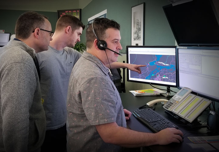 E-Comm fire dispatch staff during the FVRD fire dispatch transition go-live on February 20.
