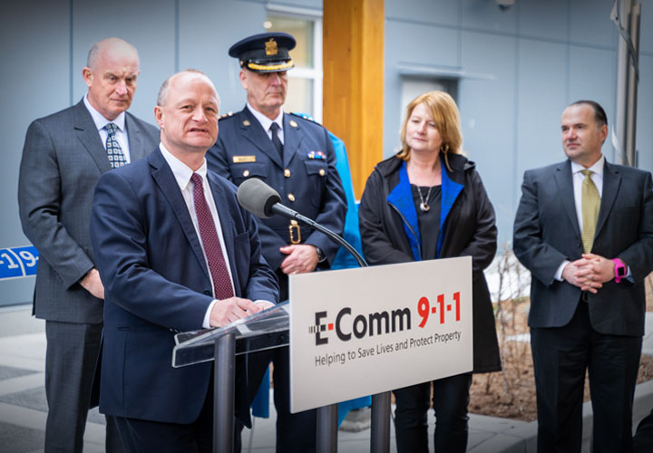 E-Comm CEO Oliver Grüter-Andrew salutes the 70-plus staff at the centre who are part of the E-Comm public safety team.