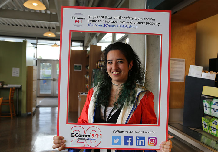 Tweet frame pose of E-Comm employee